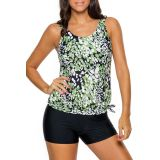 Greenish Dewdrop Print Blouson Tankini Swimsuit