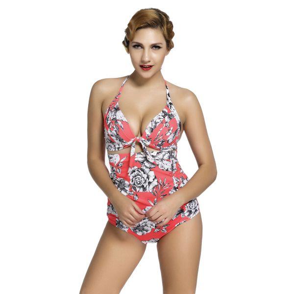 Floral Print Reddish Retro High Waist 2 Pieces Swimsuit