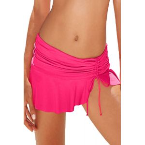 Rosy Side Tie Skirted Hipster Bikini Bottom - Пляжная одежда