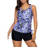 Bluish Dewdrop Print Blouson Tankini Swimsuit
