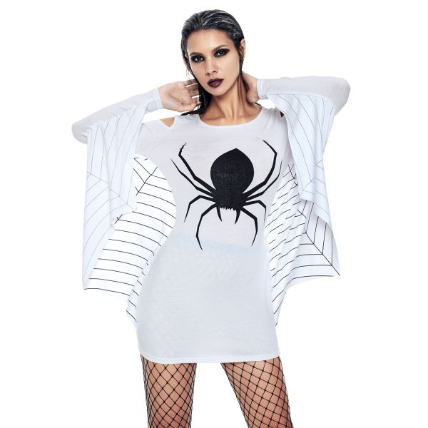 White Spiderweb Jersey Tunic Dress