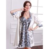 Elegant 2 Pcs Floral Printed Night Gown