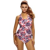 Reddish Leaf Print Halter Tankini Swim Top