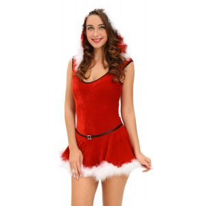 Soft Fur Trim Red Santa Teddy and Skirt Christmas Costume