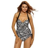 Black White Zebra Print Halter Tankini Swimsuit