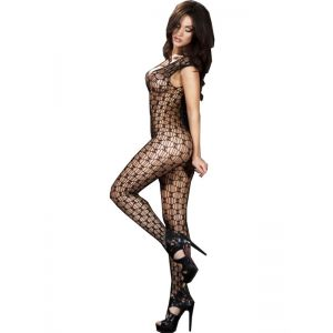 Black One Size V-neck Sleeveless Body Stocking