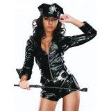Black Women Policewomen Vinyl Jumpsuit