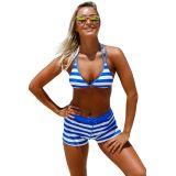 Chambray Cottage halter Bikini Boyshort Set