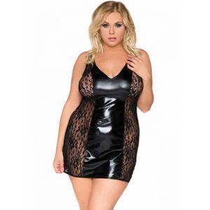 2XL-6XL Plus Size Women Vinyl Dress