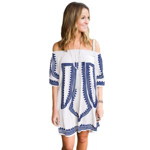 White Bohemian Vibe Geometric Print Off The Shoulder Beach Dress
