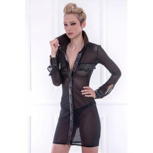 Black Sexy Transparent Leather Dress