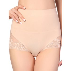Apricot M-XL Ice Silk high Waist Lace Panties