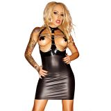 Sexy Vinyl Women Open Bust Halter Dress