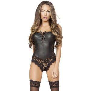 Black Sexy Strapless Leather Teddy