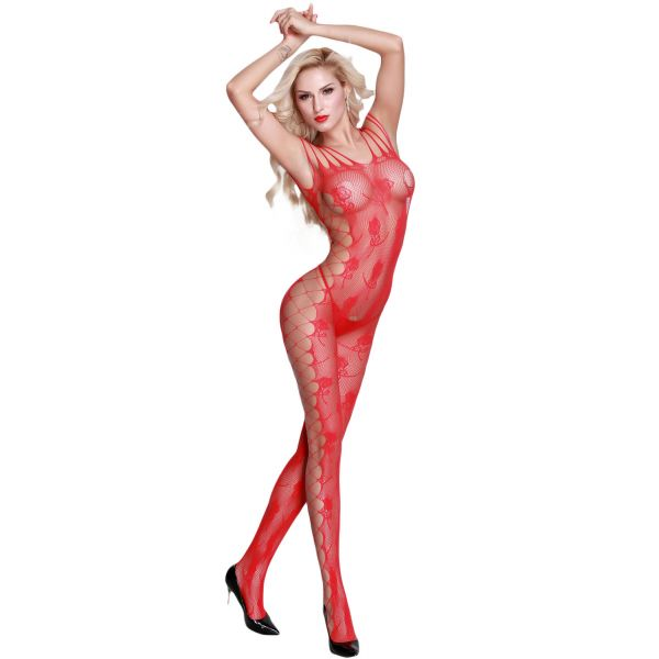 Red Strappy Shoulder Open Crotch Bodystocking