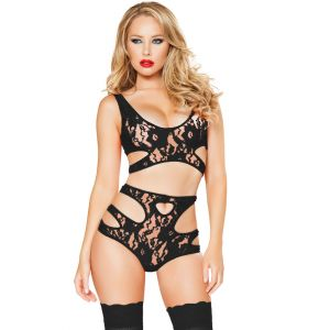 Sexy Cutout Black Lace Lingerie Set