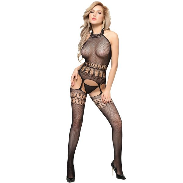 Sexy Flirt Black High Neck Bodystocking
