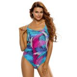 Blue Pink Palm Leaves Strappy Back One Piece Swimsuit