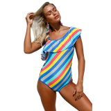 Colorful Stripes Ruffle One Piece Swimsuit