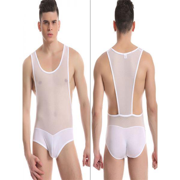Sexy White Sheer Wrestling Singlet Underwear