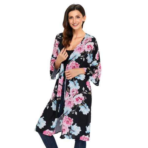 Black Floral Side Slit Boho Kimono