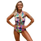Multicolor Graffiti Lace Up Halter One Piece Swimsuit