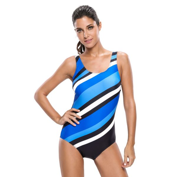 Bluish Oblique Stripes One Piece Swimsuit