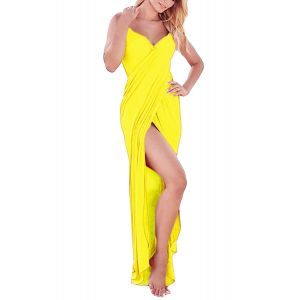 Yellow Greek Goddess Spaghetti Strap Sarong Beachwear - Пляжная одежда
