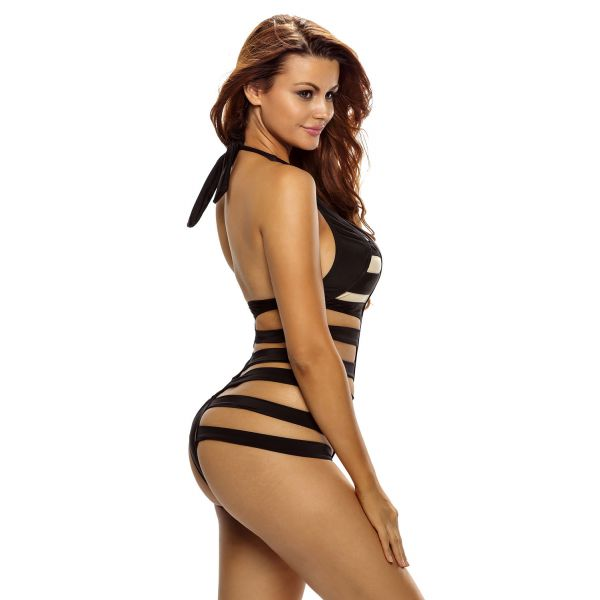 Black Ribbed Cutout Monokini
