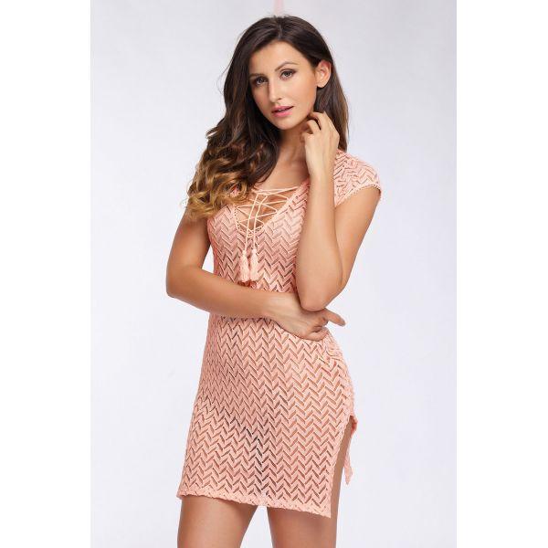 Розовое пляжное платье с шнурочком