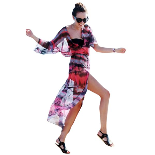 Buttons and Slit Front Open Tie-dye Print Chiffon Beachwear