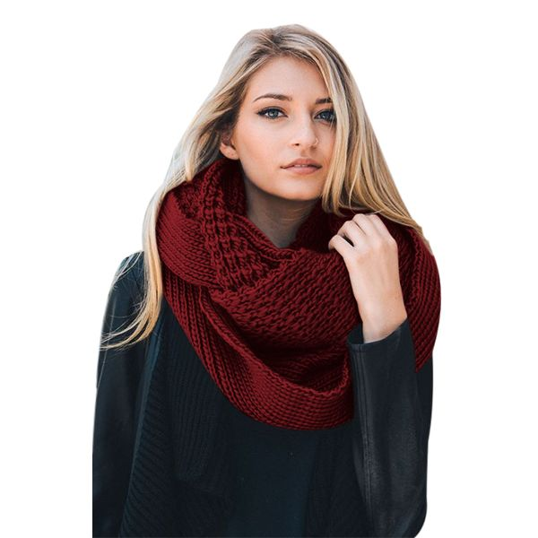 Burgundy Cable Knit Chunky Scarf