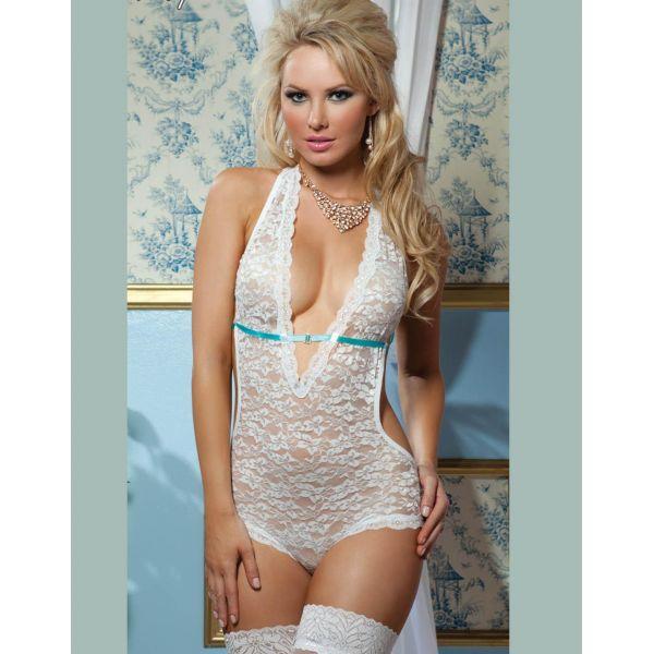 Low Neckline White Lace Teddy