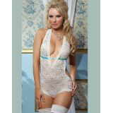 Low Neckline White Lace Teddy