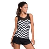 Black White Zigzag Print Mesh Splice Tankini Top