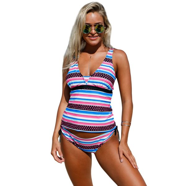 Girly Print Bandeau Tankini and Bikini Bottoms