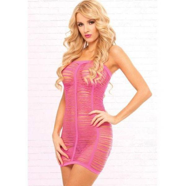 Pink Lipstick Shredded Seamless Tube Dress