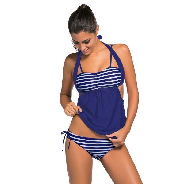 Navy White Stripes Navy Splice Tankini Swimsuit
