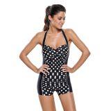 Polka Dot Front Monochrome One Piece Swimwear