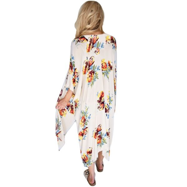 Ivory Floral Side Slit Boho Kimono