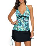 Blue Green Print Bead Tie Tankini and Skirt Swimsuit