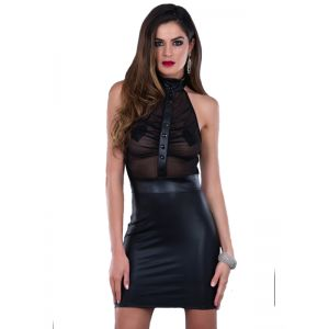 Black Sexy Leather Mini Dress
