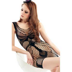 Black seamless mesh negligee
