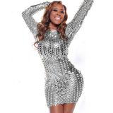 Silver Metallic Clubwear Dress with Cut-outs