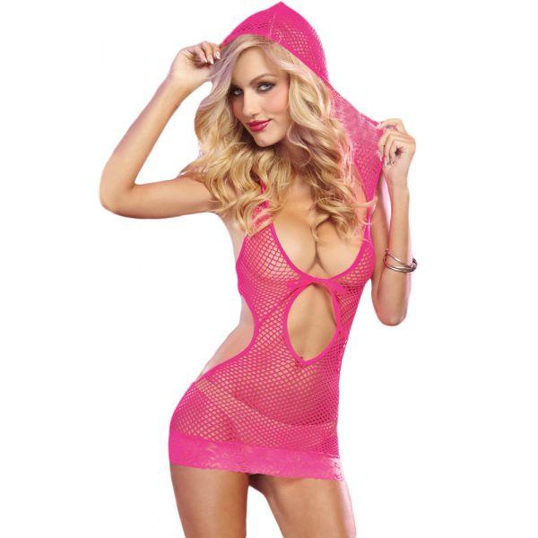 Rose Red Seamless Fishnet Hooded Dress