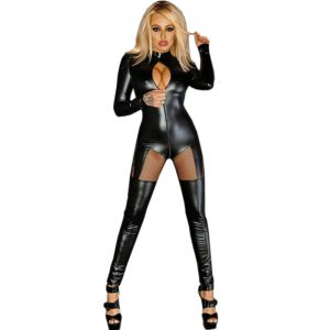 Sexy Women Leather Black Jumpsuit