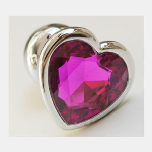 Anal stopper heart with pink stone, size M