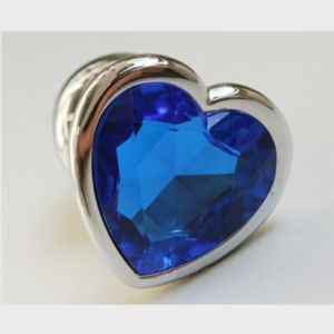 Butt plug heart with blue stone, size M