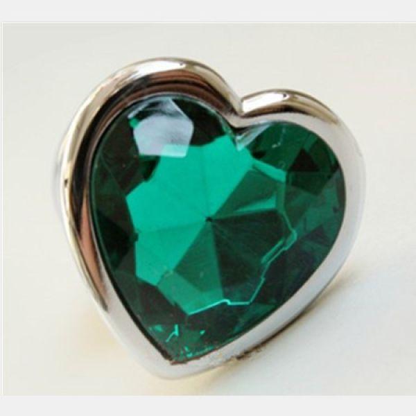 Анальная пробка сердечко, с зеленым камушком, размер М