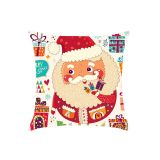 Cartoon Father Christmas with Gifts Pattern Pillow Case